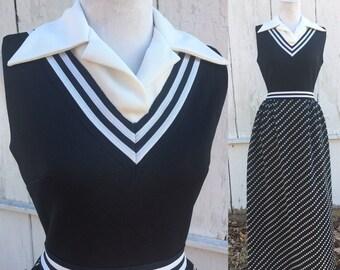 Black & White Maxi Dress W/ Peter Pan Collar