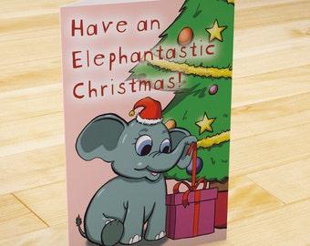 Cute Christmas Card, Elephant Card, Cute Xmas Card, Animal Card, Cartoon Card, Merry Christmas Card, Merry Xmas, Elephantastic