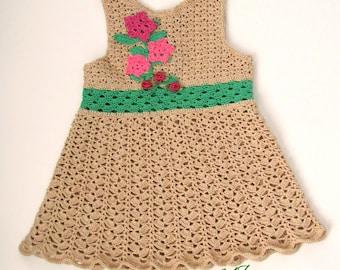 Flower Crochet Baby-sundress-girl-dress-Handmade-Dress-Summer-clothes-baby-dress flower-girl-dress