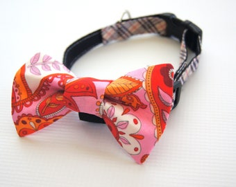 Pink Paisley Dog Bow Tie Collar Attachment