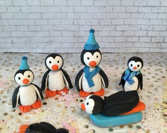 Polymer clay penguin cake topper,cake toppers,handmade,penguins, winter cake,birthday,party supplies,