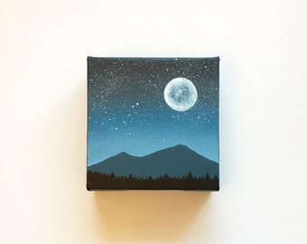 Blue Moon VII | Original Acrylic Painting | 4x4 Inches | By Janelle Anakotta