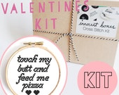 Touch My Butt and Feed me Pizza Modern Cross Stitch Kit - easy chart design guide & supplies- valentines design - embroidery kit popculture