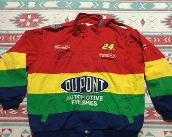 Vintage Jeff Gordon Number 24 Dupont NASCAR Hendrick Motorsports Rainbow Warrior Jacket