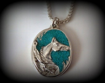 Recyceld Silver, Turquoise, Arabian, Horse, Inlay, Pendant, Necklace, Gift