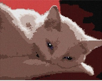 Needlepoint Kit or Canvas: White Cat