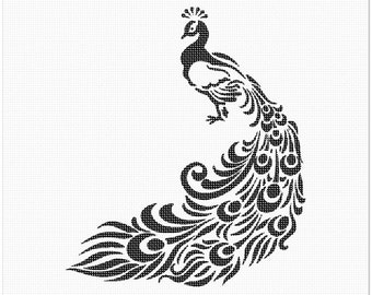 Needlepoint Kit or Canvas: Peacock Silhouette