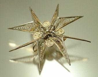 Vintage/ antique 1950s sterling 925 silver filigree, Maltese cross, brooch pin / pendant - jewelry jewellery