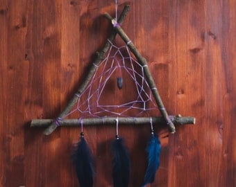 Dream Catcher - Purple Triangle - With Raw Gemstone Amulet, Natural Blue Feathers, Purple Nett and Wooden Frame - Home Decor, Mobile