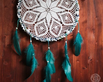 Dream Catcher - Spring Forest No.02. - Unique Dream Catcher with White Crochet and Blue Feathers - Crochet Dream Catcher, Home Decoration