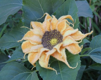 Felted flower brooch  / Felted  Sunflower  / yellow felted flower embroidered with beads / Sunflower OOAK