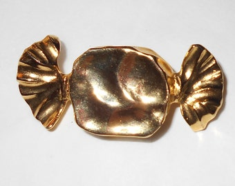 Vintage Gold Tone Candy Brooch Wrapped Candy pin kitsch jewelry Free USA Shipping