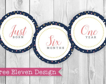 Navy Coral & Gold PRINTABLE Monthly Stickers