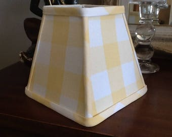 Square Lampshade Sunflower and white buffalo check clip fitter lampshade