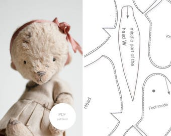 PDF Sewing Pattern Instant Download Teddy Bear In Clothes Making 6 inches Digital Download Stuffed Animal Toy For Women PDF Tutorial