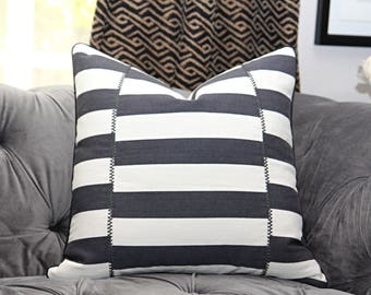 Zak and Fox - Daran in Hezar - Black and White Stripped Pillow Cover w/ black piping - Geometric Throw - Modern Black Pillow