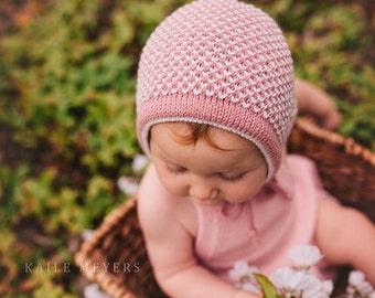 Hand knitted baby bonnet/ Unisex bonnet/ Cashmere bonnet/Knitted baby hat/ Baby hat with ties/ Two colour baby bonnet/ Made to order.