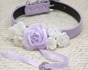 Lilac white wedding Dog Ring Bearer Collar, Pet wedding, Floral wedding Ring Bearer