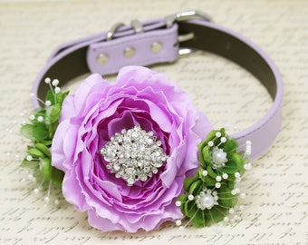 Floral Lavender Greenery wedding Dog Collar, Greenery Wedding, Rhinestone and pearls