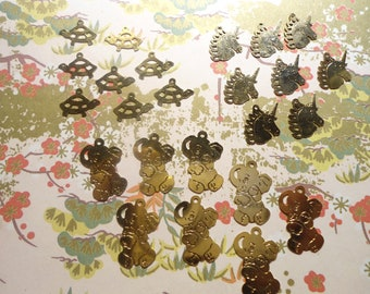 24 Assorted Brass Animal Charms