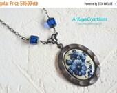 Blue Flower Victorian Necklace, Gothic Necklace, Victorian Jewelry, Blue Flower Cameo Necklace, Blue Old World Jewelry, Gothic Necklace