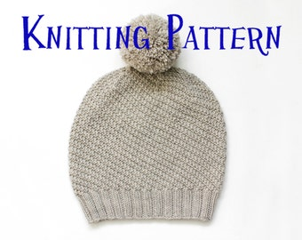 PDF Knitting Pattern - Scafell Hat, Beanie Knitting Pattern, Knit Hat Instructions, Bobble Hat Pattern, Child, Adult, DIY Knit Beanie