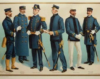 1899 Antique Werner Company lithograph of U.S. NAVY in full dress UNIFORMS. Spanish-American War 1898. 118 years old gorgeous matted print