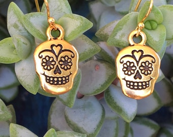 Gold Sugar Skull Earrings