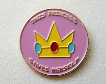 Crown Enamel Pin, This Princess Saves Herself Hat Lapel Pin, Badge Flair, Feminist Patriarchy Pastel, Gold and Pink, Feminism, Girl Power