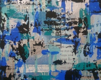 How Blue Can You Get? original mixed media collage painting canvas abstract