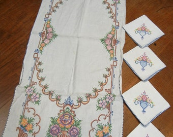 Vintage cross-stitch runner and four napkins - midcentury