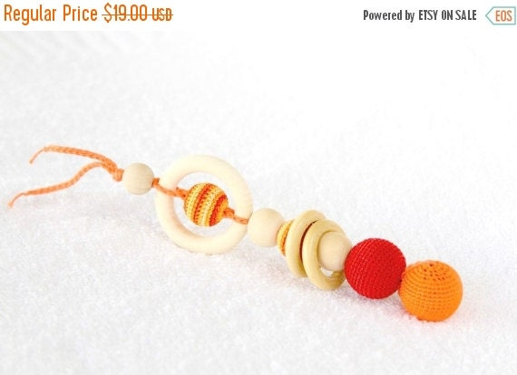 SALE Red and orange Crochet Teether - Teething toy/Wooden rattle with crochet wooden beads and wooden rings