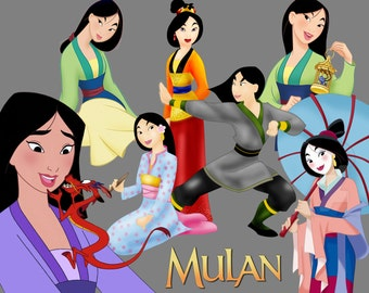 BEST collection of 100 Disney's MULAN Clipart - 100 high quality MULAN clipart - 100 Mulan Graphics !!! Logos and frames included.