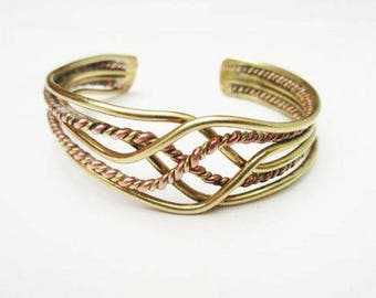 Brass Copper Bracelet - Braided cuff - mixed metal Bangle