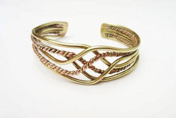 Brass Copper Bracelet - Braided cuff - mixed metal Bangle