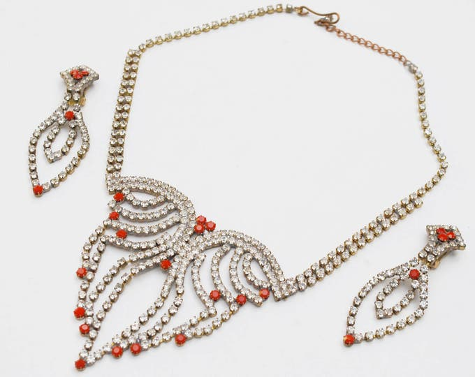 Rhinestone necklace Earring set - Czech crystal - red stones - dangle clip on earrings -