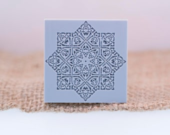 """Textile - Mandala Texture Stamp 38 X38  mm / 1 1/2"""" X 1 1/2"""" For PMC, Art Clay, Metal Clays, Polymer Clay, Fimo"""
