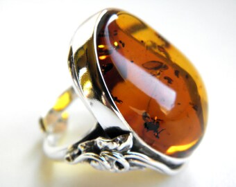 Baltic amber sterling silver ring MOSS inside - inclusion, fossil - adjustable