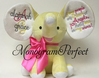 Yellow Elephant Stuffed Eelphant - Some People Only Dream of Angels