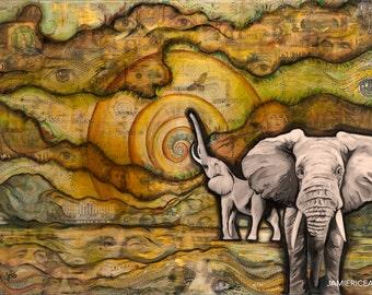 "Elephants - 5""x7"" Unframed Art Print by Jamie Rice- Desk Art, Wall Decor"