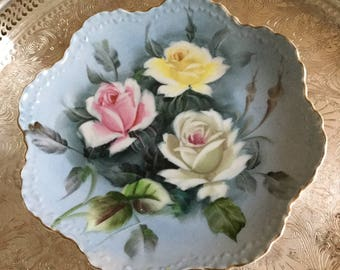 Lefton China Hand Painted Blue Plate with Colorful Roses