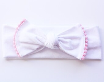 Pom Pom Bow Headband - Valentines Headband - Newborn to Adult - Photo Prop Headband