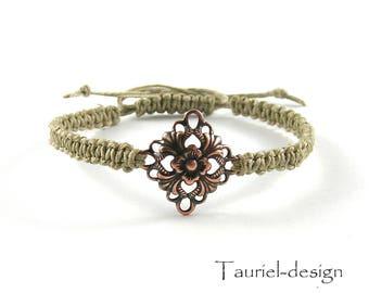 Macrame bracelet, linen cord bracelet, eco-friendly, natural