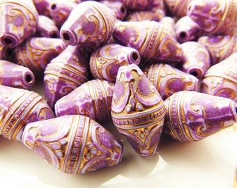 Large Ornate Lilac Purple & Gold Baroque Filigree Embossed Fancy Lantern Bicone Beads 19x11mm  Plastic - 6