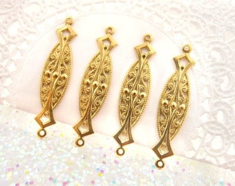 Raw Brass Art Deco Filigree Earring Connector Link Stampings 38mm - 6