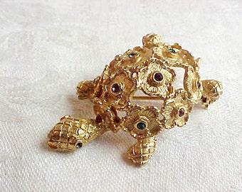Vintage Schrager Rhinestone Turtle Brooch - Goldtone Openwork Flowers with Multi-Color Rhinestones Gems - Designer Signed Terrapin Pin