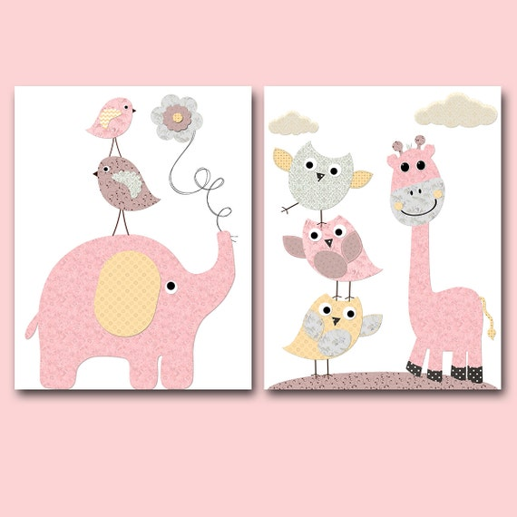 Rose jaune gris l phant girafe murale decor hibou mur decor for Decor traduction