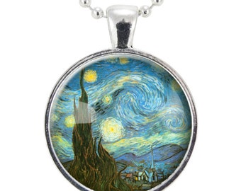 The Starry Night Necklace, Vincent van Gogh Glass Photo Necklace, Silver Plate (0422S25MMBC)