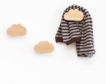Cloud wall hook, nursery wall hooks, wooden hangers, oak wall hooks