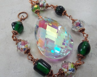 Sun Catcher Aurora Borealis with Vintage Inspired Lampwork Pink and Green Copper Chain